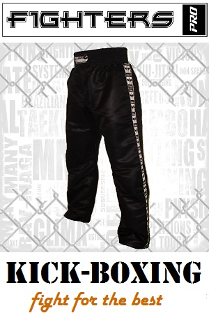 FIGHT-FIT - Kick-Boxing Hosen / Satin / Schwarz / XXS