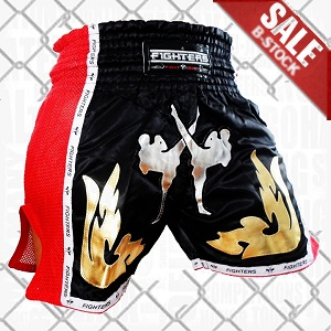 (B-Ware) FIGHTERS - Thaibox Shorts / Elite Fighters / Schwarz-Rot / Medium
