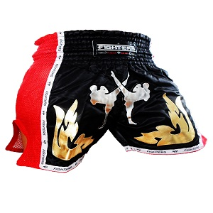 FIGHTERS - Thaibox Shorts / Elite Pro Fighters / Schwarz-Rot / Small